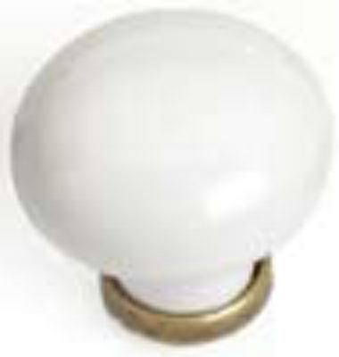 Castella Heritage Manor Antique Brass and White Porcelain 30mm Knob