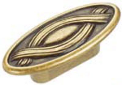 Castella Heritage Nouveau 32mm Oval Antique Brass Knob