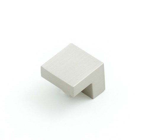Castella Geometric Isometric Angular Brushed Nickel Square Pull 16mm Knob