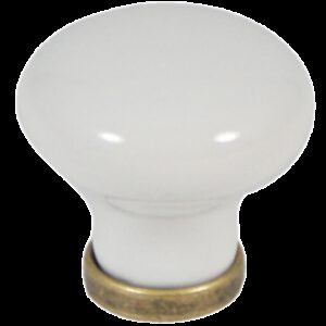 Castella Heritage Manor Antique Brass and White Porcelain 30mm Knob