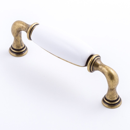 Castella Heritage Manor Antique Brass and White Porcelain 96mm Handle