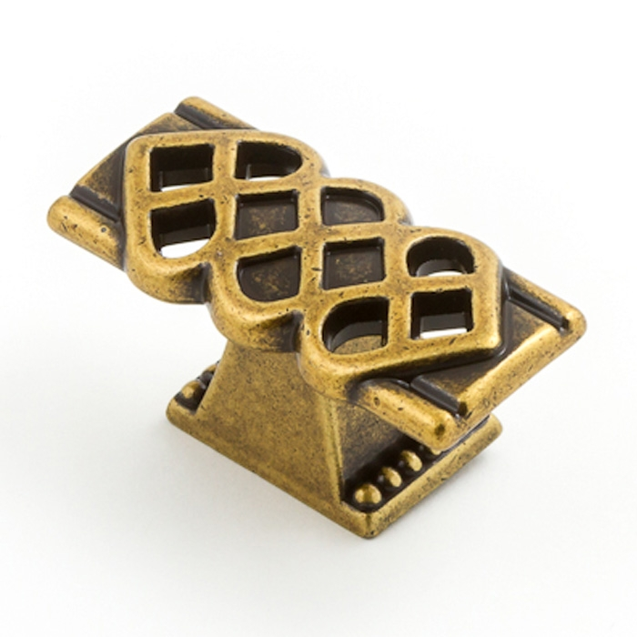 Castella Heritage Venetian Lattice Antique Brass 50mm Oblong Knob