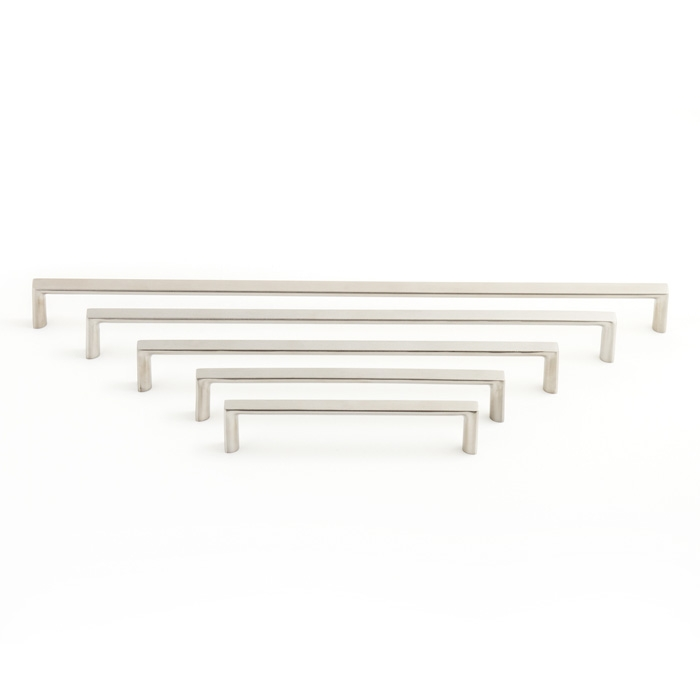Castella Linear Planar Brushed Nickel Rounded Flat D Pull 96mm Handle