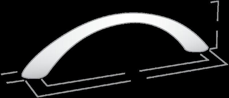 Castella Nostalgia Classic Satin Chrome 128mm Tapered Bow C Pull Handle