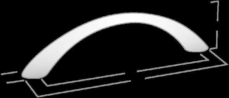Castella Nostalgia Classic Satin Chrome 64mm Tapered Bow C Pull Handle
