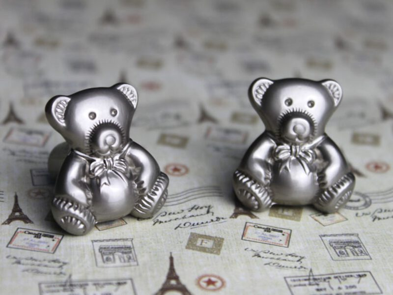 3763 Teddy Bear 28mm Silver Sand Knob
