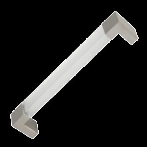 Castella Translucent Acrylic 128mm Brushed Nickel D Pull Handle