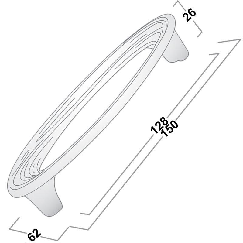 Castella Artisan Organic 128mm Pewter Oval Handle 096 128 14 Diagram