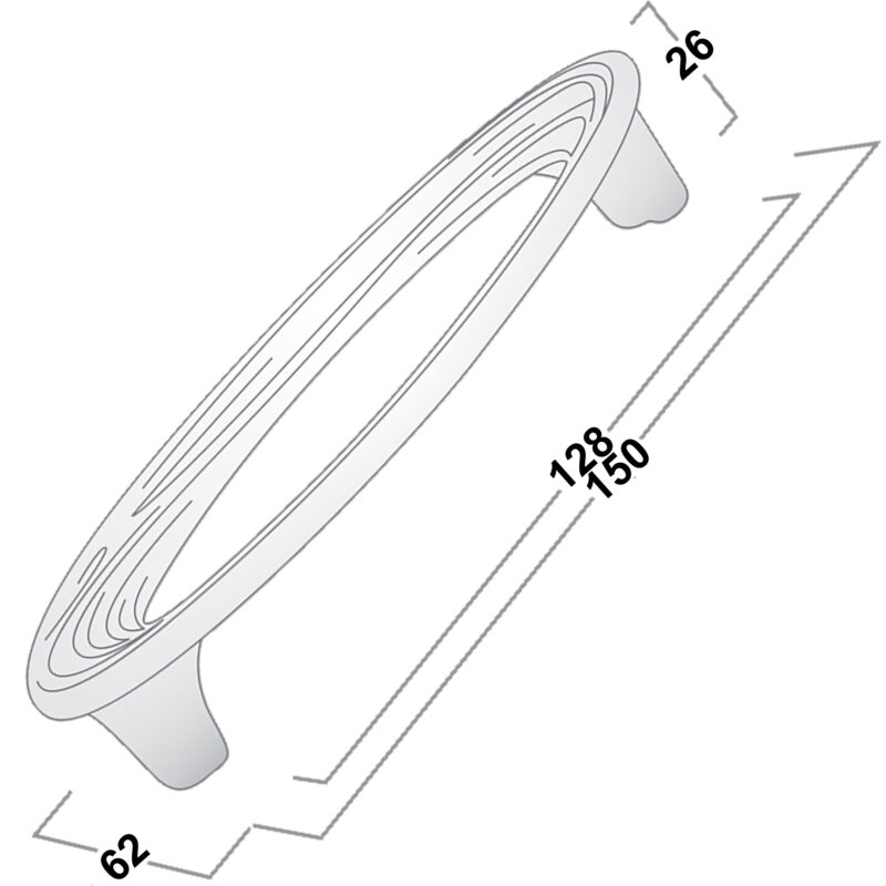 Castella Artisan Organic 128mm Polished Chrome Oval Handle 096 128 06 Diagram