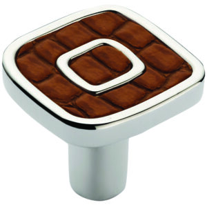 Castella Artisan Safari 30mm Light Brown Crocodile Deco Leather Nickel Plated Knob 120 030 65