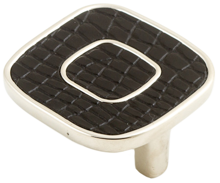 Castella Artisan Safari 52mm Black Crocodile Deco Leather Nickel Plated Knob 120 052 75 2