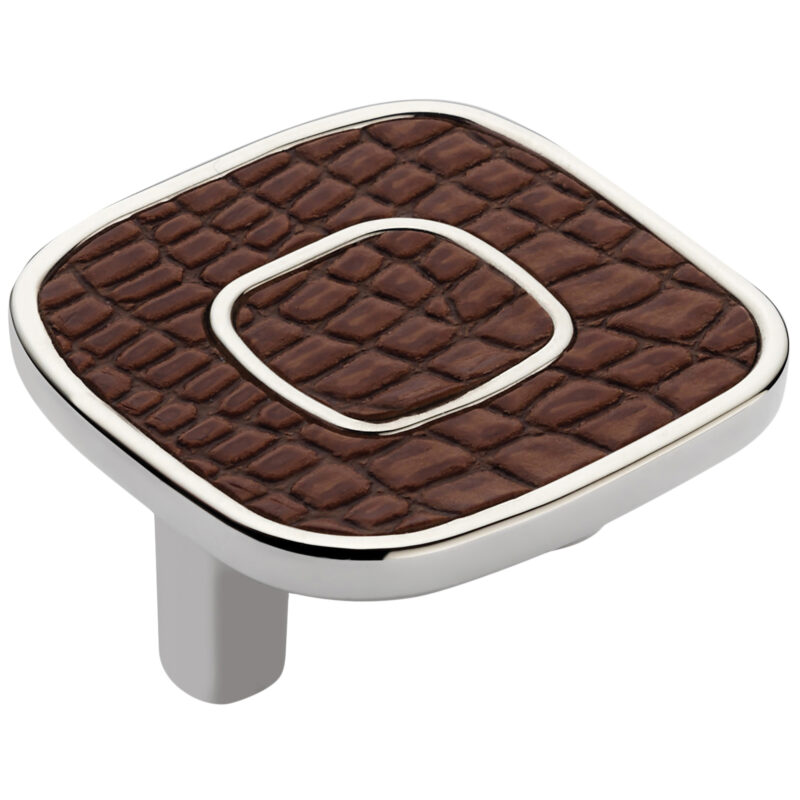 Castella Artisan Safari 52mm Dark Brown Crocodile Deco Leather Nickel Plated Knob 120 052 70 2