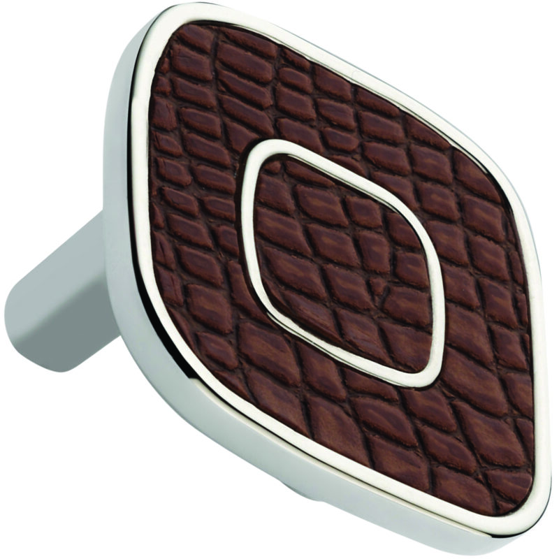Castella Artisan Safari 52mm Dark Brown Crocodile Deco Leather Nickel Plated Knob 120 052 70