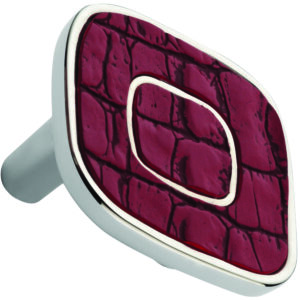 Castella Artisan Safari 52mm Deep Cherry Crocodile Deco Leather Nickel Plated Knob 120 052 85