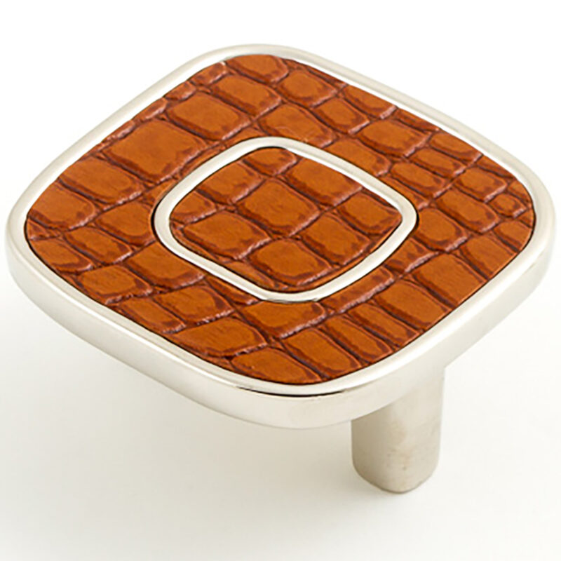 Castella Artisan Safari 52mm Light Brown Crocodile Deco Leather Nickel Plated Knob 120 052 65 1
