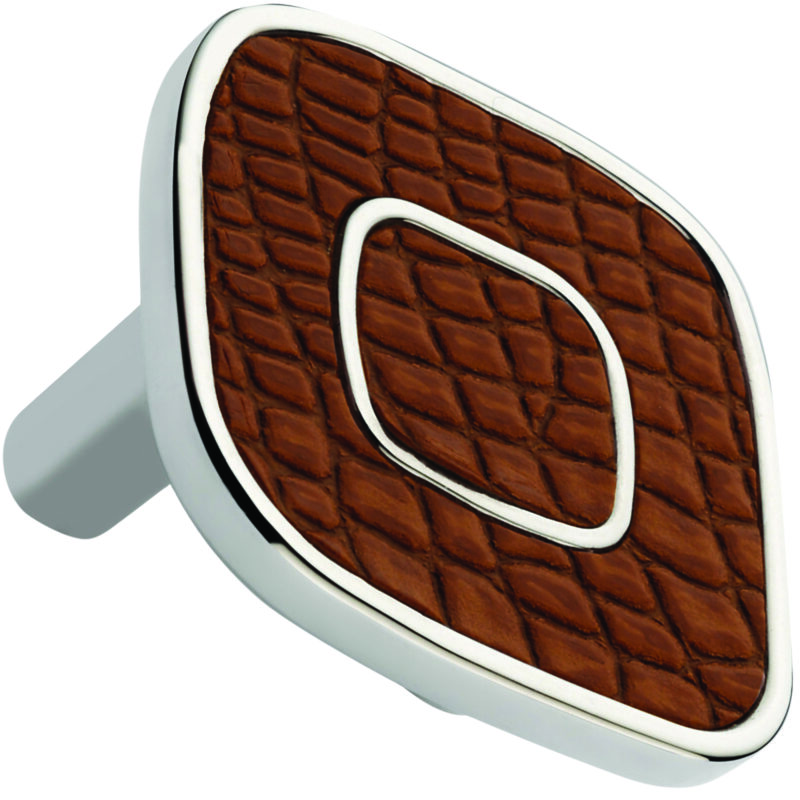Castella Artisan Safari 52mm Light Brown Crocodile Deco Leather Nickel Plated Knob 120 052 65