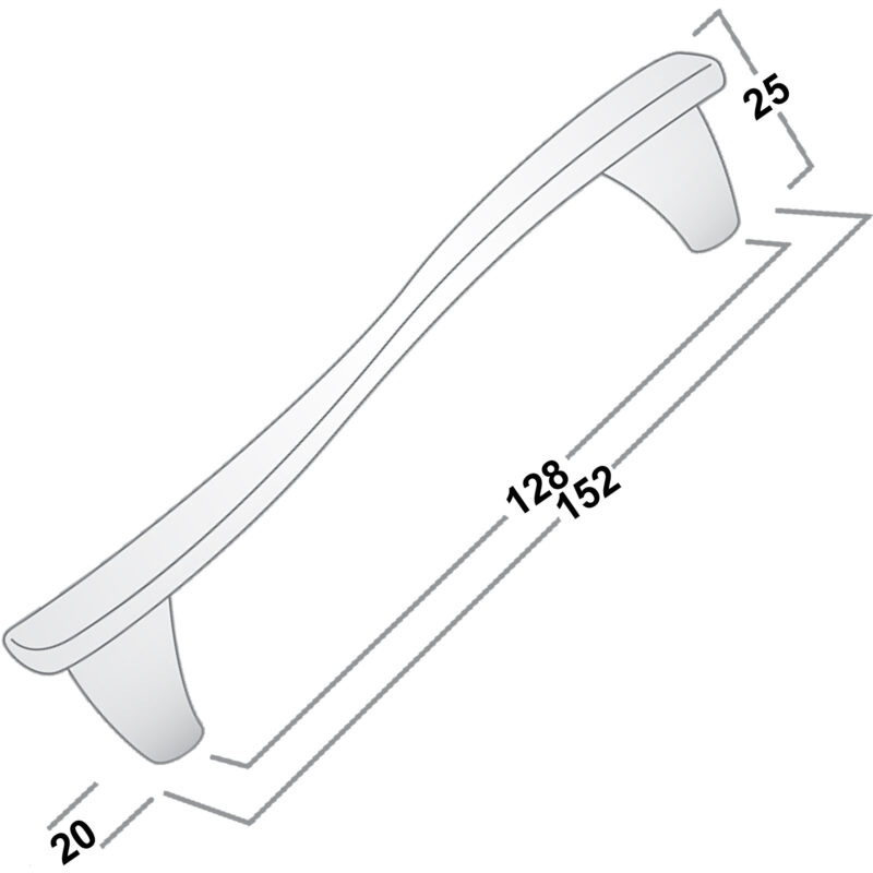 Castella Contour Flow Dull Brushed Nickel 128mm Handle 12 128 10 Diagram