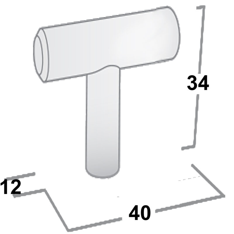 Castella Linear Portal Satin Stainless Steel 40mm T Rail Knob 005 040 07 Diagram