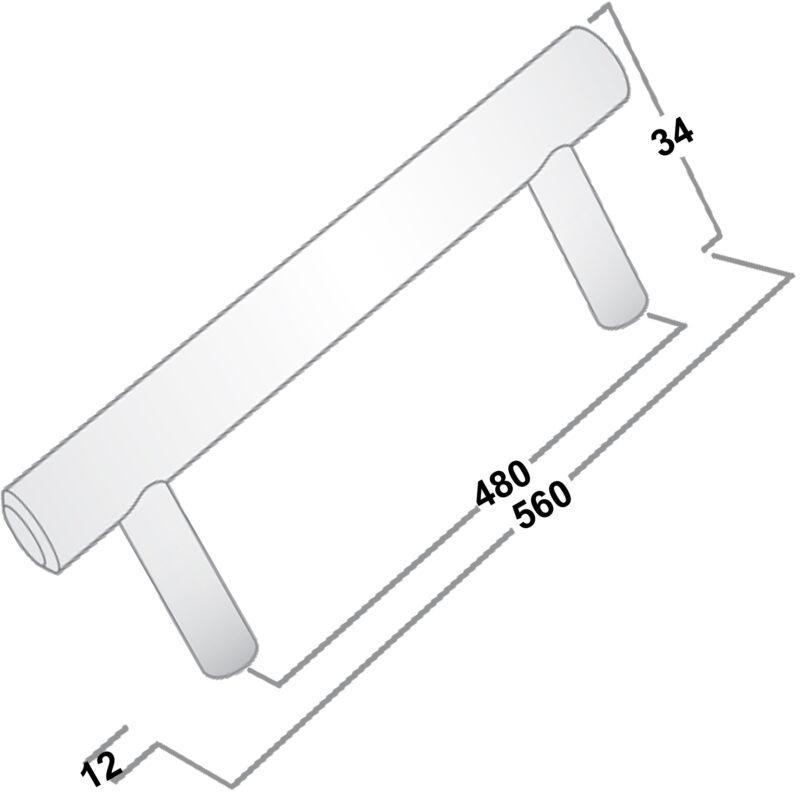 Castella Linear Portal Satin Stainless Steel 480mm Rail Handle 005 480 07 Diagram