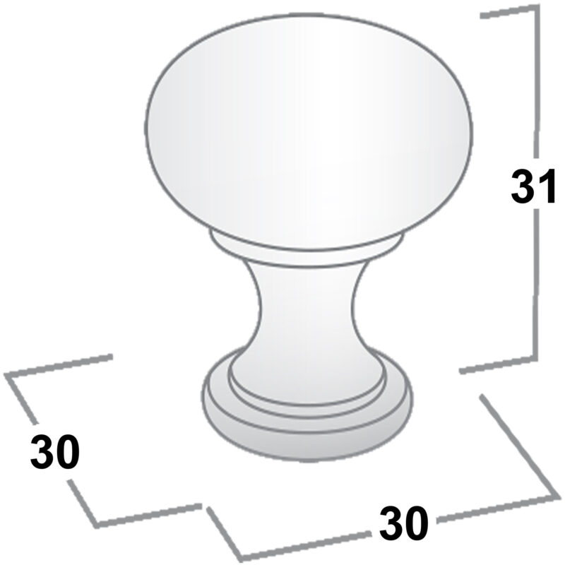 Castella Nostalgia Kennedy Brushed Nickel 30mm Knob 050 030 05 Diagram