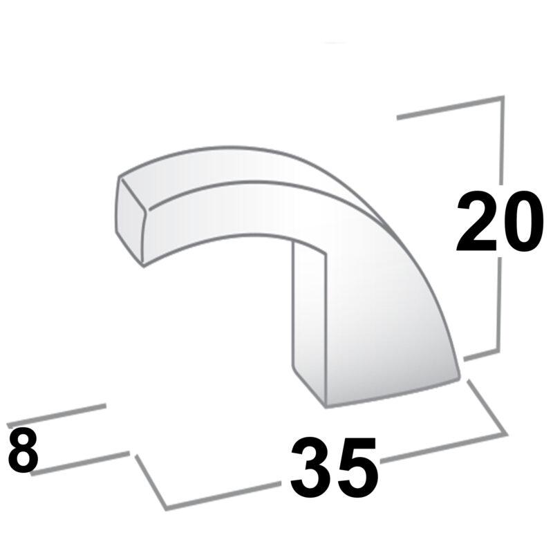 Castella Retro Curve Narrow Curved Knob 16 035 10 35 8 20 Brushed Nickel Diagram