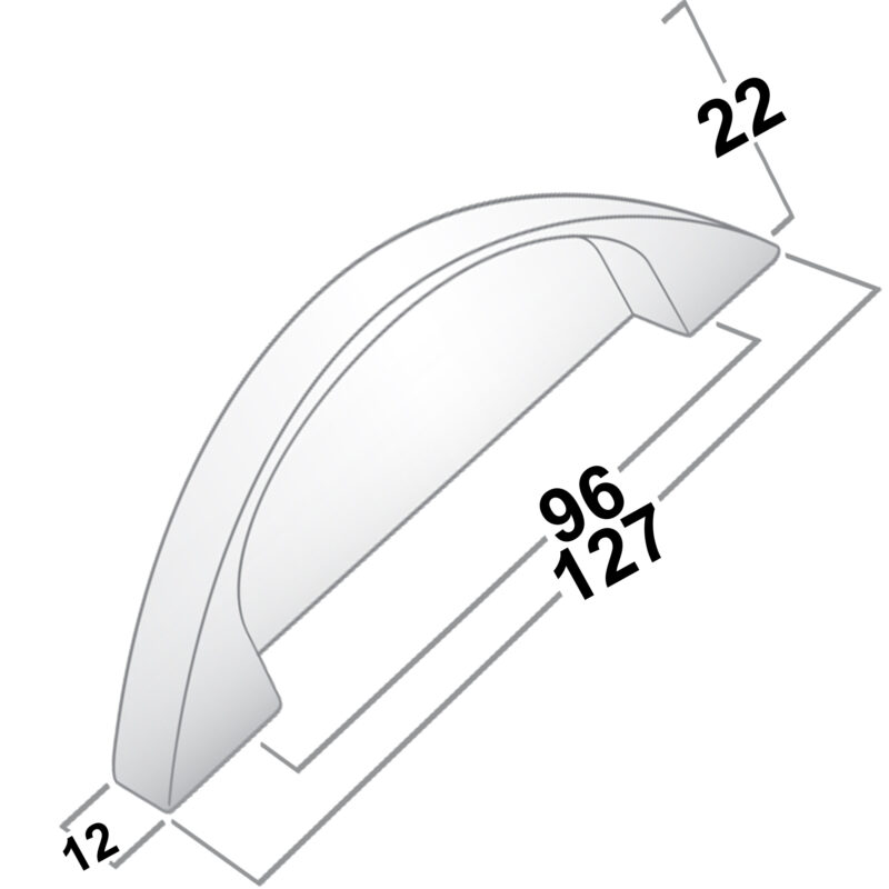 Castella Rounded Flat 96mm Brushed Nickel Pull 014 096 10 Diagram