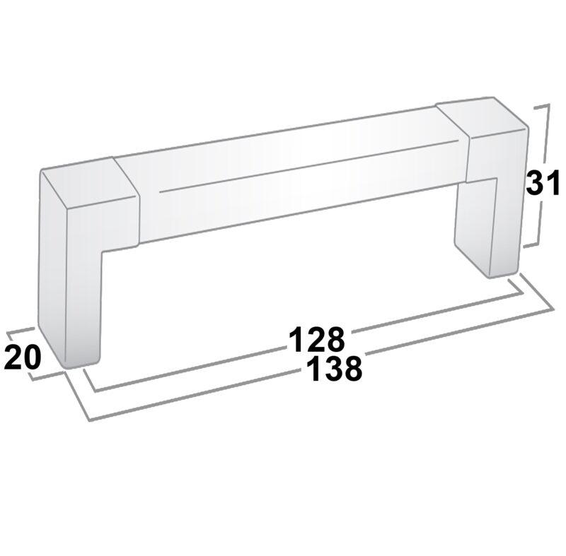 Castella Translucent Acrylic 128mm Brushed Nickel D Pull Handle Sah 013 128 10 Diagram