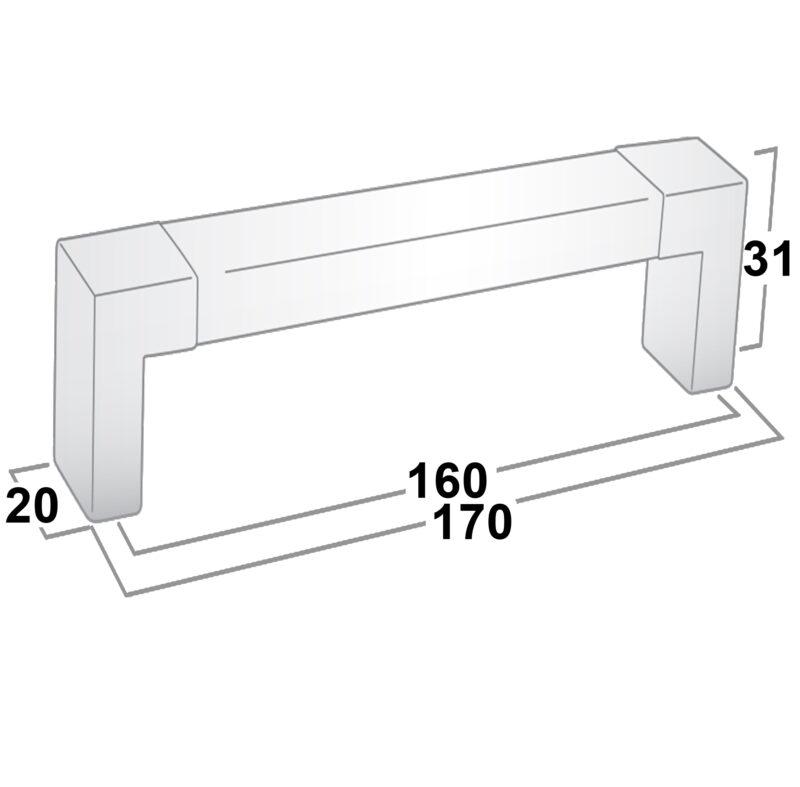 Castella Translucent Acrylic 160mm Brushed Nickel D Pull Handle Sah 013 160 10 Diagram