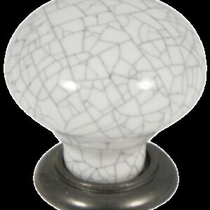 Castella Heritage Estate White Crackle Porcelain with Pewter Base 35mm Round Knob