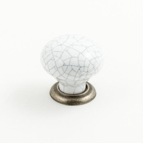 Castella Heritage Estate White Crackle Porcelain with Pewter Base 35mm Round Knob
