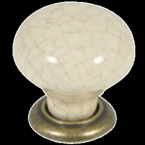 Castella Heritage Estate Cream Crackle with Antique Brass Base 35mm Round Knob