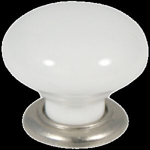 Castella Heritage Estate White Porcelain with Brushed Nickel Base 35mm Round Knob