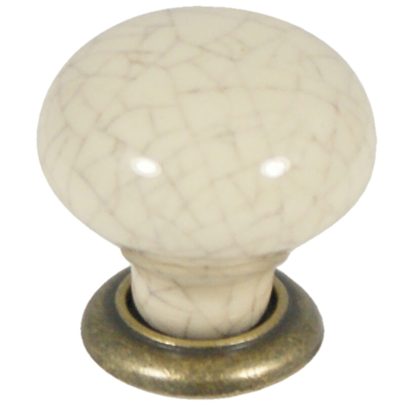 Castella Heritage Estate Cream Crackle Porcelain With Antique Brass Base 35mm Round Knob 62 035 17 2