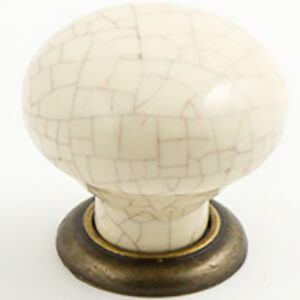 Castella Heritage Estate Cream Crackle Porcelain With Antique Brass Base 35mm Round Knob 62 035 17