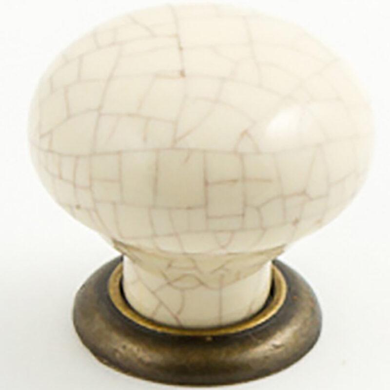 Castella Heritage Estate Cream Crackle Porcelain With Antique Brass Base 35mm Round Knob 62 035 17