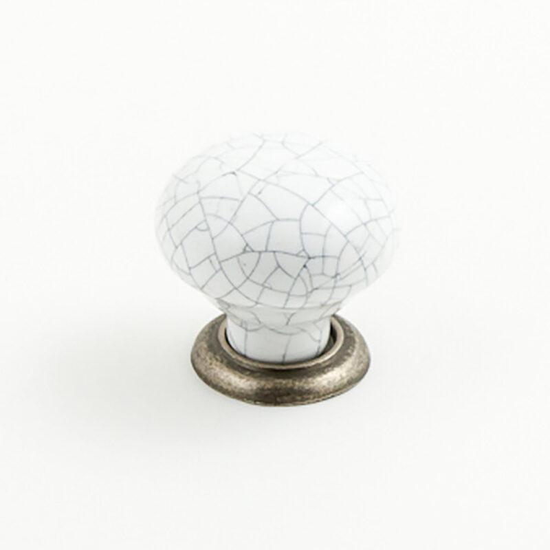 Castella Heritage Estate White Crackle Porcelain With Pewter Base 35mm Round Knob 62 035 16 1