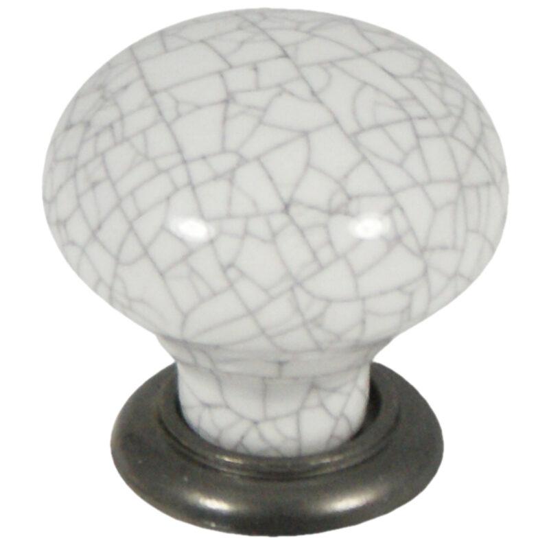 Castella Heritage Estate White Crackle Porcelain With Pewter Base 35mm Round Knob 62 035 16 2
