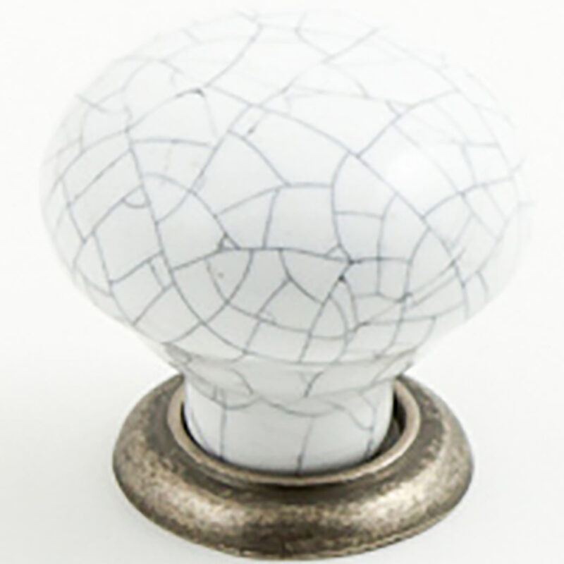 Castella Heritage Estate White Crackle Porcelain With Pewter Base 35mm Round Knob 62 035 16