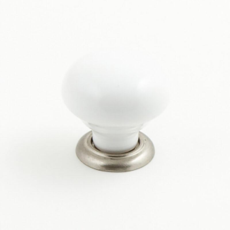 Castella Heritage Estate White Porcelain With Brushed Nickel Base 35mm Round Knob 62 035 19 1