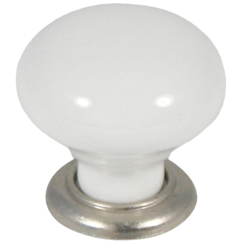 Castella Heritage Estate White Porcelain With Brushed Nickel Base 35mm Round Knob 62 035 19 2