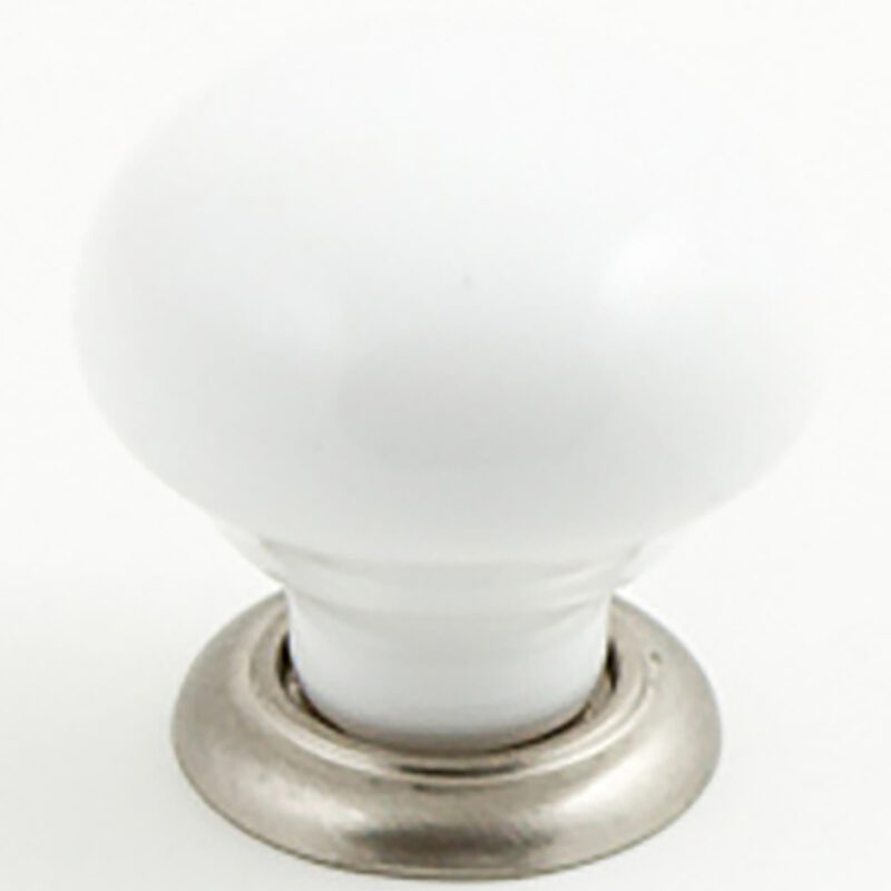 Castella Heritage Estate White Porcelain With Brushed Nickel Base 35mm Round Knob 62 035 19