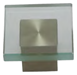 Dorset Verve Collection Glass Head Dull Brushed Nickel Base 48mm Square Knob