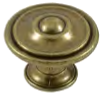 Dorset Rivoli Collection Antique Brass 35mm Round Concentric Knob