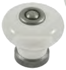 Dorset Rivoli Collection White Porcelain 31mm Knob Eurpean Pewter Base and Spindle