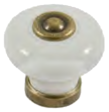 Dorset Rivoli Collection White Porcelain 31mm Knob with Antique Brass Base and Spindle