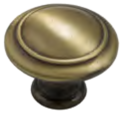 Dorset Pineta Collection Hand Polished Antique Brass Zinc Alloy 25mm Round Concentric Knob