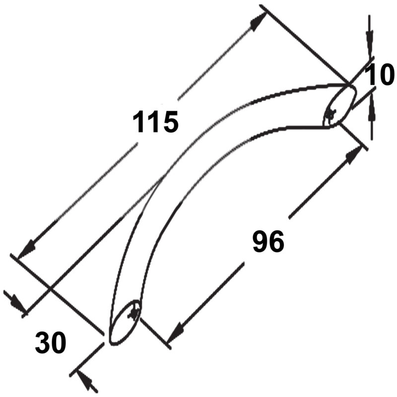 Furnware Dorset Locarno Satin Nickel 96mm Bow C Pull Handle Strt96 Sn Diagram