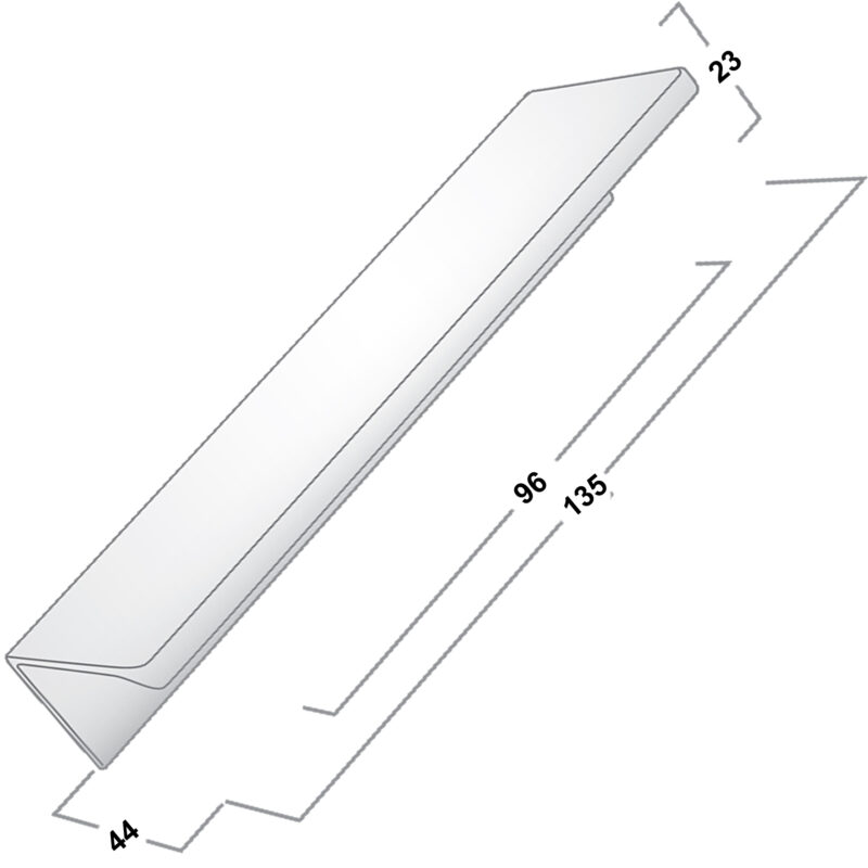 Castella Minimal Blade 96mm Satin Chrome Lip Pull Handle Sah 712 096 15 Diagram