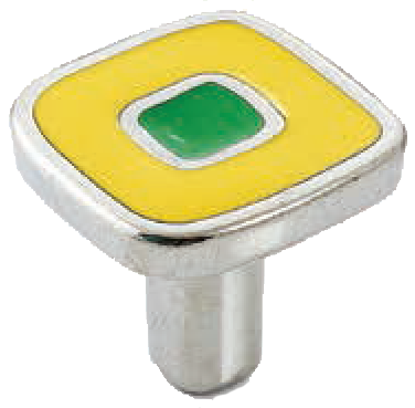 Dorset Vivo Collection Nickel Plate Yellow and Green 30mm Knob
