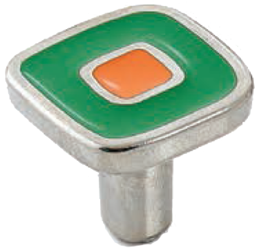 Dorset Vivo Collection Nickel Plate Green and Orange 30mm Knob